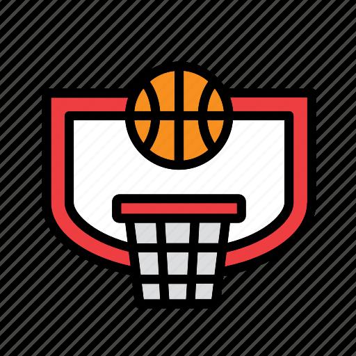backboard, ball, basket, basketball, hoop icon