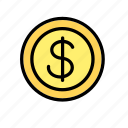 american, coin, currency, dollar, money, united states, usa icon