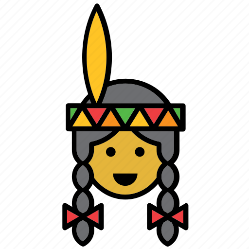 american, girl, indian, native, united states, usa, woman icon