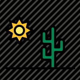 cactus, desert, landscape, nature, sun icon
