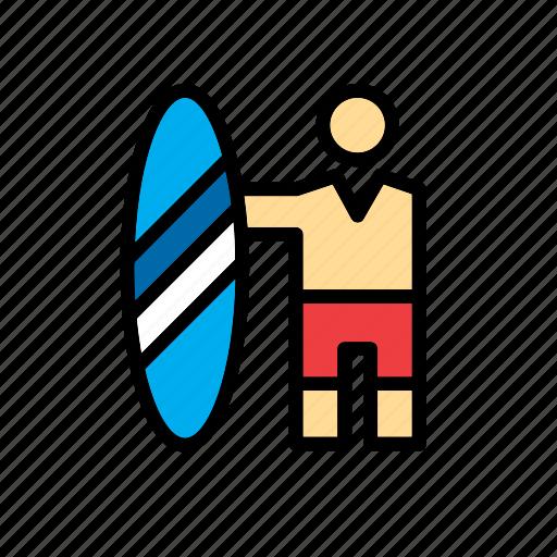 board, man, people, sport, surf, surfer icon