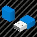 cartoon, computer, connection, flash, isometric, small, usb