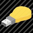 bulb, business, cartoon, computing, flash, isometric, usb