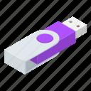 cartoon, disk, drive, flash, isometric, steel, usb