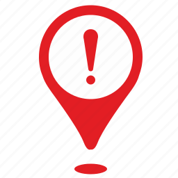 attention, geo, place, point, problem, warning icon