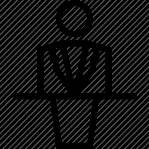 man, podium, speaker icon