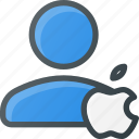 action, apple, people, user icon