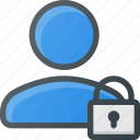 action, lock, people, user icon