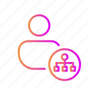 connection, followers, hierarchy, inheritance, leader, manager, network icon