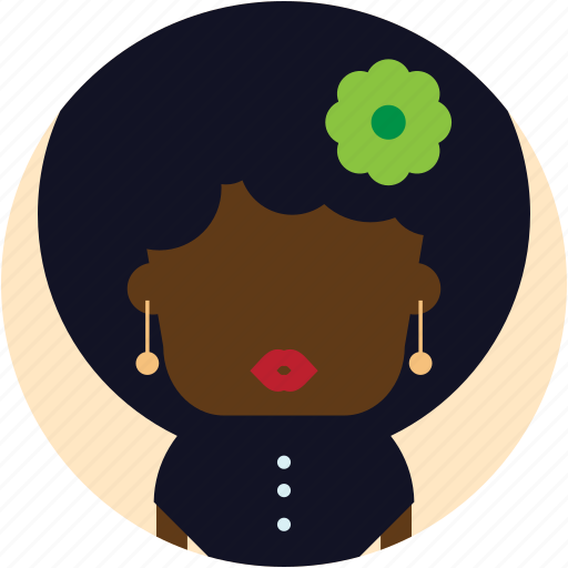 african, afro, american, avatar, user, woman icon