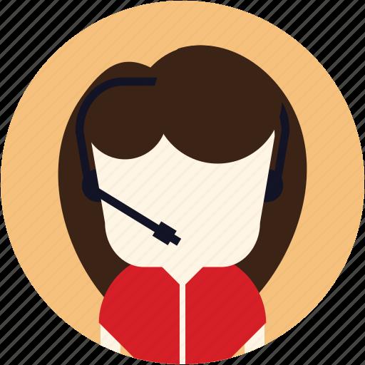 avatar, call centre, contact, customer service, secretary, user, woman icon