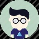 avatar, genius, user, glasses, nerd, man icon