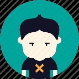 avatar, boy, nerd, sad, user icon