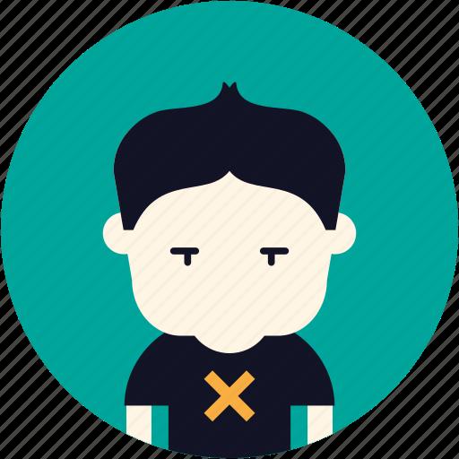 Boy, user, sad, avatar, nerd icon