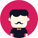 avatar, classic, elegant, man, mustach, user icon