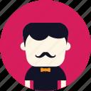 classic, avatar, elegant, user, mustach, man
