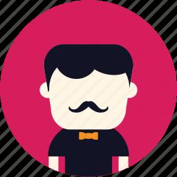 avatar, classic, elegant, man, mustach, user icon