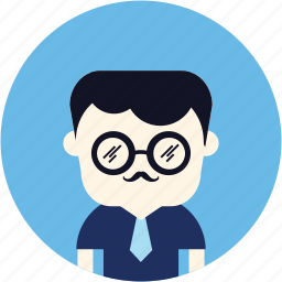avatar, business, glasses, man, user icon