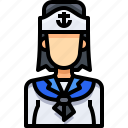 avatar, female, people, person, sailor, user, woman icon
