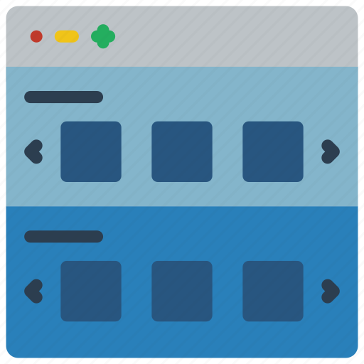 experience, rows, sliding, user, ux, website, window icon