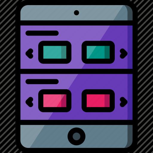 experience, ipad, rows, sliding, user, ux, window icon
