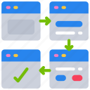 website, browser, flow, experience, ux, user icon