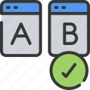 a, b, experience, testing, user, ux icon