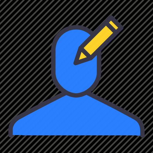 businessman, edit, user, write icon
