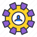avatar, businessman, change, gear, repair, setting, user icon