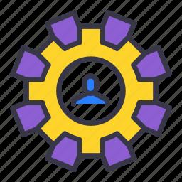 avatar, businessman, change, gear, repair, setting, user icon