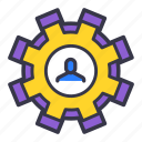 avatar, businessman, change, gear, setting, user icon