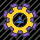 avatar, businessman, change, gear, setting, user icon