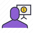 analysis, currency, dollar, money, price, user icon