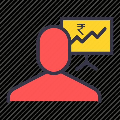 analysis, graph, money, price, rupeey, statistic, user icon