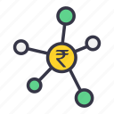bussiness, currency, finance, funds, invest, links, rupee icon