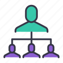 command, connect, hierarchy, level, link, links, user icon