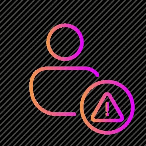 account error, account notification, account warning, danger user, problem, user alert icon