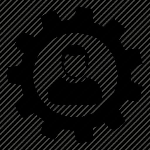 cog, configuration, gear, settings, user icon