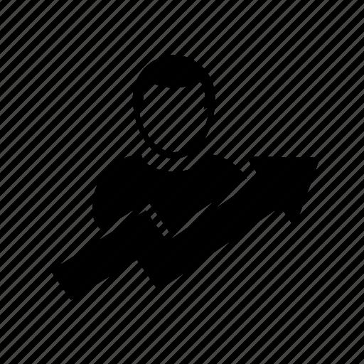analytics, arrow, growth, population, user icon