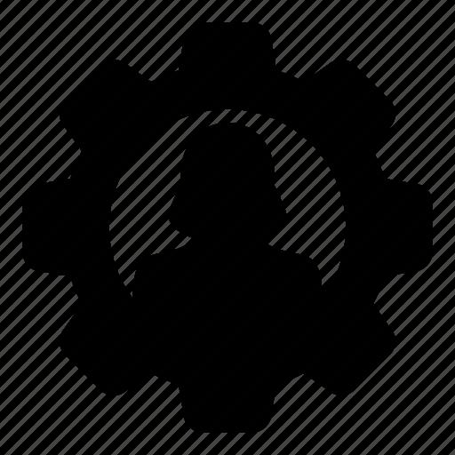 avatar, cog, configuration, gear, settings, user, woman icon