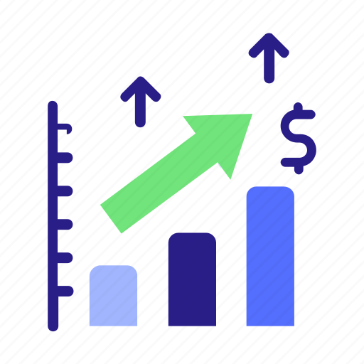 analysis, analytics, dollar, forecast, money, prediction, trend icon, up icon