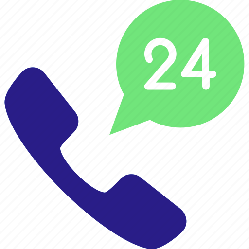 24/7 communications, 24/7 hour service icon, customer, hours, information, phone icon