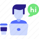 business, chat, concept, helo, hi, job, laptop, man, office, table, work icon icon