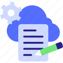 cloud maintenance, cloud service icon, cloud settings, cocnept, gear, network settings, process icon