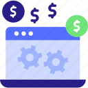currency, device, dollar, gear, make money, mouse, online, ppc icon, process, website icon