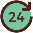 support, user interface, 24 hours icon