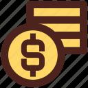 user interface, coins, dollar, money