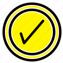 interface, tick, user icon