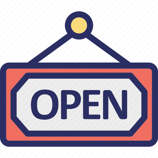 hanging sign, office, open sign, service, shop sign icon