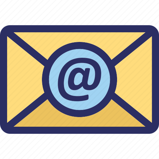 arroba, at sign, envelope, letter, mailbox icon